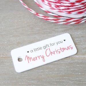 30x Christmas Gift Tags Mini Labels Merry XMAS Tag White Christmas Treat Tags