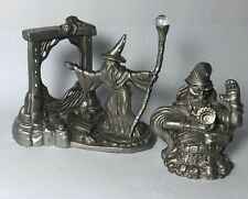 Vintage Lot Of 2 Mini Pewter Figurines Wizard With Mirror & Wizard W/Spell Book