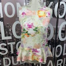 H & M Multi Color Abstract Sleeveless Peplum Top Blouse Size 8