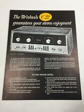 vtg Mcintosh C22 Stereophonic Preamplifier Stereo Dealer Flyer Specifications