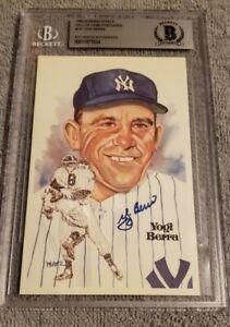 Yogi Berra Signed Perez Steele Post Card Beckett