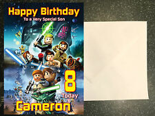 STAR WARS Lego Personalised Birthday Card Son Nephew etc ANY NAME AGE RELATIVE!