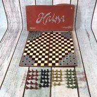 Vintage Halma Board Game Wooden Pieces Boxed Complete