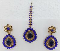Ethnic Dulhan Sari Saree Maang Tikka Cz Earrings Indian Fashion Jewelry Set et18