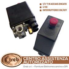 PRESSOSTATO COMPRESSORE MONOFASE 4 VIE 12 BAR MAX AIRMEC ABAC VALEX HYUNDAI