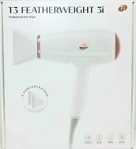 T3 White Featherweight 3i Professional Hair Dryer With 2 Concentrators Included