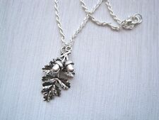 DOUBLE ACORN WITH OAK LEAF TIBETAN Leaf SP Necklace 17 inch chain GIFT POUCH