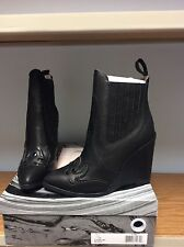 Jeffrey Campbell Chivalry Black Leather Wedge Ankle Boots Size 6.5 *NEW