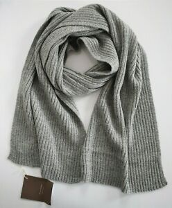 New FLORENCE CASHMERE Gray WOOL CASHMERE Knit SCARF Made in ITALY