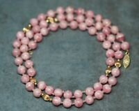 Genuine 14K Gold & Natural Pink Angel Skin Coral 8MM Bead Necklace 28""