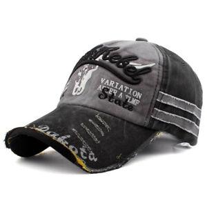DISSTRESSED VINTAGE STYLE TRUCKER / BASEBALL CAP MEN WOMEN ADJUDTABLE DENIM HAT