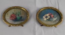 Paire d'aquarelles ovales miniatures de Blanche Odin, anémones, roses rouges