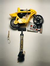 Vintage 1981 Tomy Air Jammer Yellow Cycle Scrammer Air Powered Motorcycle w/Pump