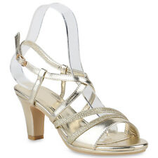 Damen Riemchensandaletten Lack High Heels Sandaletten Party Schuhe 820735  Schuhe 12e452ea97