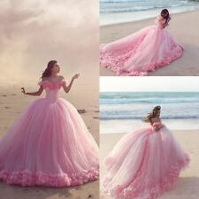 Off Shoulder Pink Wedding Dress Bridal Ball Gowns Custom Size 2 4 6 8 10 12 ++++