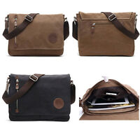 Vintage Canvas Leather Satchel School Military Shoulder Messenger Bag Men women