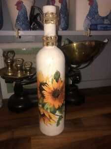 Beautiful Decoupage Sunflower Bottle/light/easter/craft/handmade