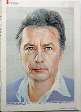 L'EXPRESS 1990: Dessin 1 page ALAIN DELON + KAREN CHERYL_FEDERICO FELLINI_OUVEA