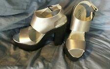 "Very High Heeled Platform Sandles Shoes In Silver Heel 6"" Size 6 UK 39 EU"