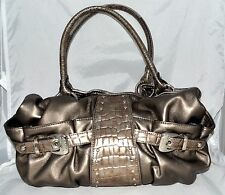 Kathy Van Zeeland Gold Soft Faux Leather Croc Shoulder Bag with Studs & Buckles