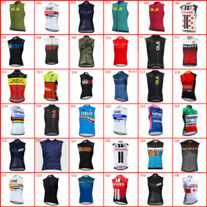 Summer Mens Cycling Jersey Sleeveless Vests Team Bike Shirts Bicycle Uniform