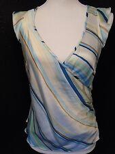Banana Republic Multi Color Striped Sleeveless V-Neck Side Button Shirt Sz 6 -E-