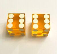 """Vintage Pair of Casino Style Craps Dice - Light Orange - Translucent - 3/4"""""""