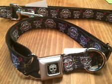 SUGAR SKULLS DAY OF THE DEAD ~ SEAT BELT BUCKLE DOG COLLAR & LEASH SET ~ MED