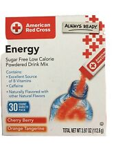Red Cross Energy Drink Packs Sugar Free 30 Ct Cherry Orange Vitamins