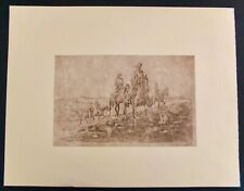 """Edward Borein Cowhands Riding Home Restrike Etching 10"""" X 13 1/8"""""""