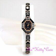 OMAX Gunmetal Rose Gold PL Deco Octagon Watch Dress w/ Swarovski Crystals JE0474