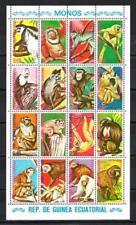 Animaux Singes Guinée Equatoriale (94) série complète 16 timbres oblitérés