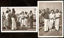 2 photo lot 267 STOCK CAR Dirt Track Race DRIVERS Trophy Gal ORIGINAL Aug 7 1955