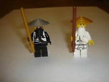 2 LEGO Ninjago Evil Sensei Wu and white Sensei Wu Minifigure with weapn 70725