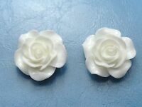 "20 White Cabochons Rose Flower Flatback Resin 20mm(3/4"") DIY Embellishments"