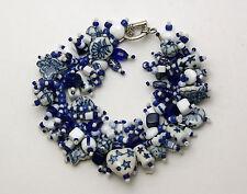 """Bracelet Kit: """"Spode"""" Blue & White glass & ceramic beads Fringe Magic NEW"""