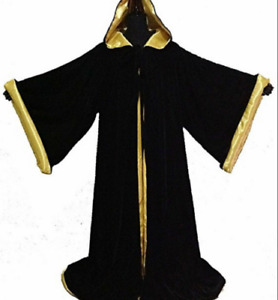 Velvet Hooded long sleeves Cloak Wicca Robe Renaissance Medieval Witchcraft Larp