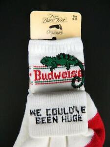 NOS Vtg 80s Budweiser Chameleon We Could've Been Huge For Bare Feet Socks 9-11