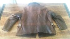 Mens Vtg Brown UBER MINNESOTA Buckskin Pile Lined Half-Belt Motorcycle Jacket XL