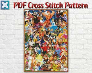 Mickey Mouse Disney Characters Counted PDF Cross Stitch Pattern Needlework DIY