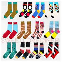 Mens Cotton Happy Socks Warm Fancy Crew Fashion Design Casual Dress Socks 9-11
