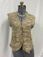 Made In Italy Vintage Wool Mohair Blend Neutral Sweater Vest Pockets Size S - M