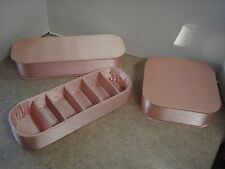 Vintage Vanity Set of 3 Glove Box Hanky Jewelry Holder Pink Quilted Satin Fabric