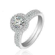 Women's 925 Sterling Silver Lab Diamond Wedding Bridal Engagement Ring Set R42