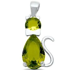 "Peridot Cat .925 Sterling Silver Pendant Charm 1"" Long"