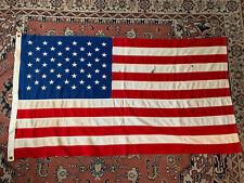 """More details for vintage antique huge 58"""" x 31"""" linen american usa flag stars & stripes"""