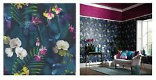 Arthouse Pindorama Leaves Navy Blue Purple Pink Wallpaper, 690101 SAMPLE ONLY