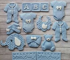 14  Blue baby boy ,christening edible cupcake toppers,Baby shower