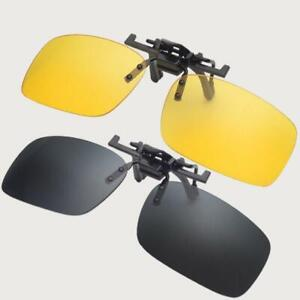 Clip On Sunglasses UV400 Flip Up Style Night Vision Driving Fishing Eyewear Case