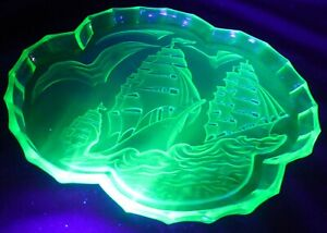 Beautiful Vintage Art Deco Galleons Tray Green Uranium Glass 1930s Walther